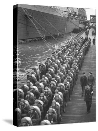 Troops Ready for D-Day Invasion of Normandy are Reviewed before Shipping Out, During WWII