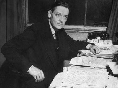 Writer T. S. Eliot Working at His Desk
