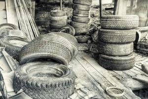 Old Tires BW by Bob Rouse