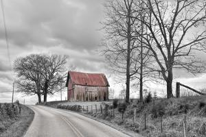 Springs Barn and Road BW by Bob Rouse