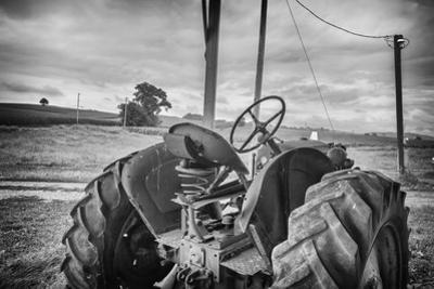 Tractor and Tobacco Field BW by Bob Rouse