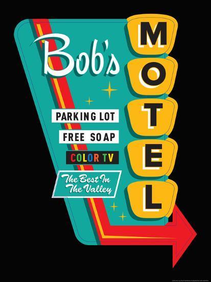 Bob's Motel in Black-JJ Brando-Art Print