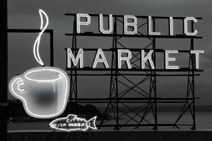 BW Public Market Sign I by Bob Stefko