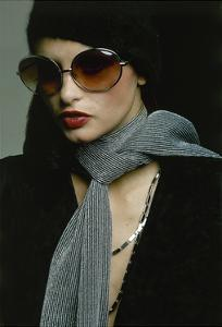 Model Wearing Big Amber Riviera Glasses, Fuzzy Mohair Cap by Irving Paul for Capodors by Bob Stone