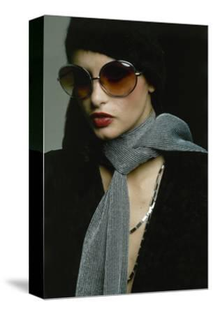Model Wearing Big Amber Riviera Glasses, Fuzzy Mohair Cap by Irving Paul for Capodors
