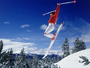 Alpine Skier Airborne, Breckenridge, CO by Bob Winsett