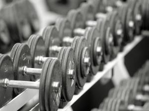 Free Weights in Rack by Bob Winsett