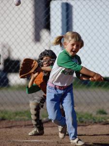 Little Girl Playing Softball by Bob Winsett