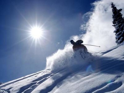 Man Skiing at Breckenridge Resort, CO