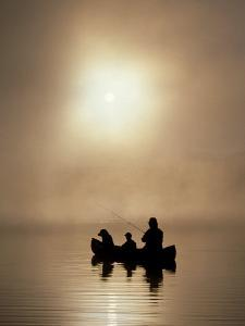 Silhouette of Father and Son Fishing by Bob Winsett