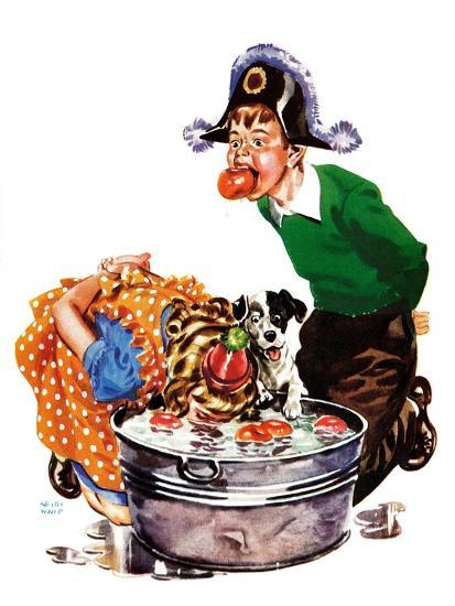Bobbing for Apples - Child Life-Keith Ward-Giclee Print