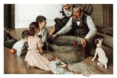 Bobbing for Apples (or Grandfather Bobbing for Apples with his Grandkids)-Norman Rockwell-Giclee Print