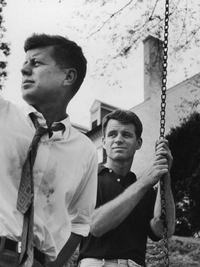 Bobby Kennedy, Chief Counsel of Sen. Comm. on Labor and Management, with Bro, Ma Sen. John Kennedy-Paul Schutzer-Photographic Print