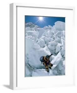 A Female Climber Descends the Khumbu Icefall by Bobby Model