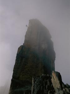 Climber Descending El Obelisco in Bolivia by Bobby Model