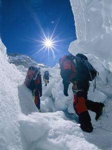 Climbers Ascend the Khumbu Icefall by Bobby Model