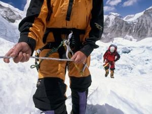 Climbing the Khumbu Ice Fall of Mount Everest by Bobby Model
