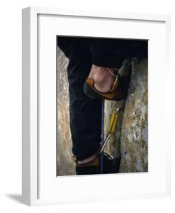 Close Up of a Team Member's Feet Wedged in a Crack in the Granite by Bobby Model