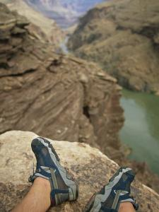 Feet Shod in River Shoes on an Overlook above the Colorado River by Bobby Model
