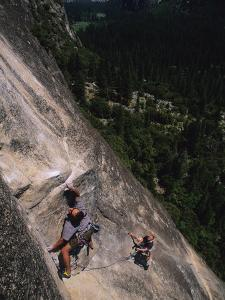 Male Rock Climbing in Yosemite National Park, California by Bobby Model