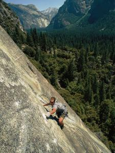 Rock Climber on Nutcracker, a Climb Rated 5.8 in Yosemite Valley by Bobby Model
