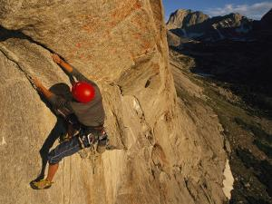 Young Man Climbing the North Tower Crack on Haystack Mountain by Bobby Model