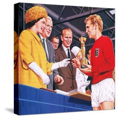 Bobby Moore Collecting the Football World Cup Trophy in 1966-John Keay-Stretched Canvas Print