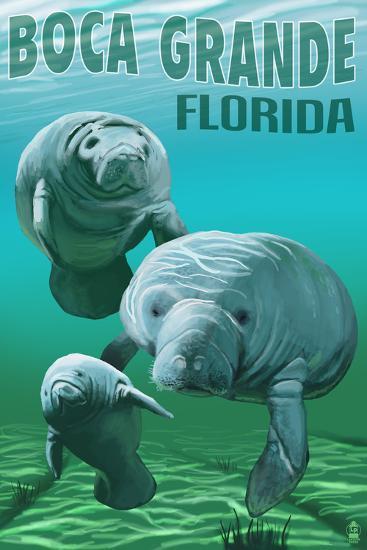 Boca Grande, Florida - Manatees-Lantern Press-Art Print