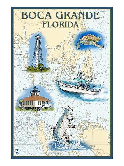 Boca Grande, Florida - Nautical Chart-Lantern Press-Art Print