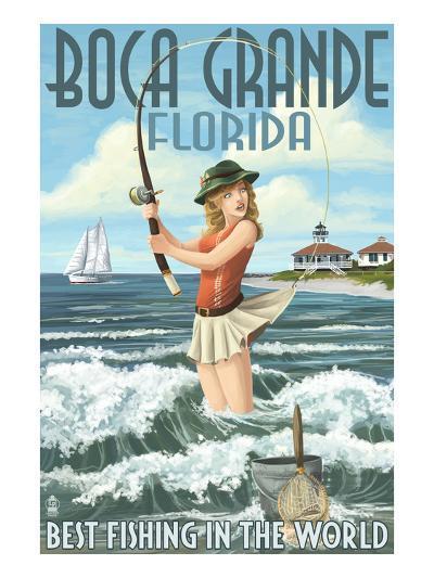 Boca Grande, Florida - Pinup Girl Fishing-Lantern Press-Art Print