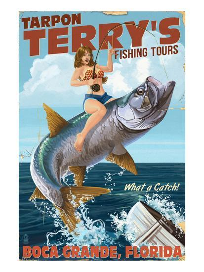 Boca Grande, Florida - Pinup Girl Tarpon Fishing-Lantern Press-Art Print