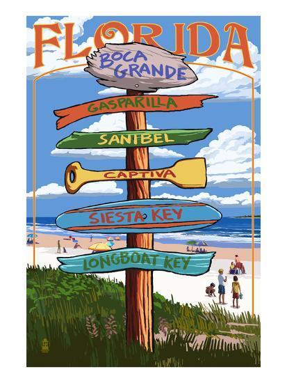 Boca Grande, Florida - Sign Destinations-Lantern Press-Art Print
