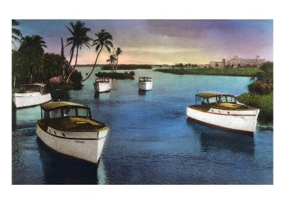 Boca Raton, Florida - Deep Sea Fishing Fleet Scene-Lantern Press-Art Print