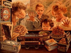 Children at Confectionery Shop by Bocchino V.