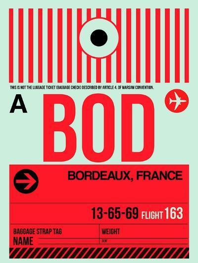 BOD Bordeaux Luggage Tag I-NaxArt-Art Print