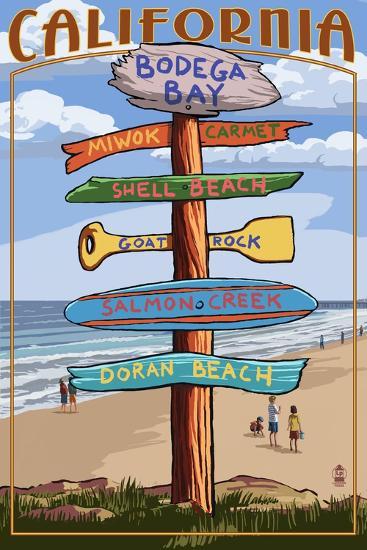 Bodega Bay, California - Destination Signpost-Lantern Press-Art Print