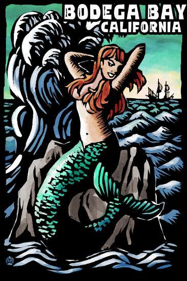 Bodega Bay, California - Mermaid - Scratchboard-Lantern Press-Wall Mural