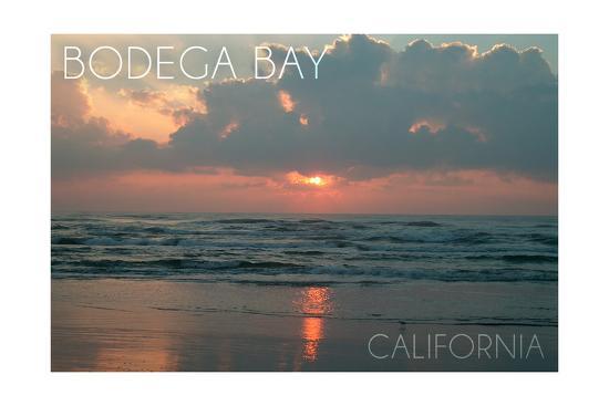 Bodega Bay, California - Ocean at Dawn-Lantern Press-Art Print