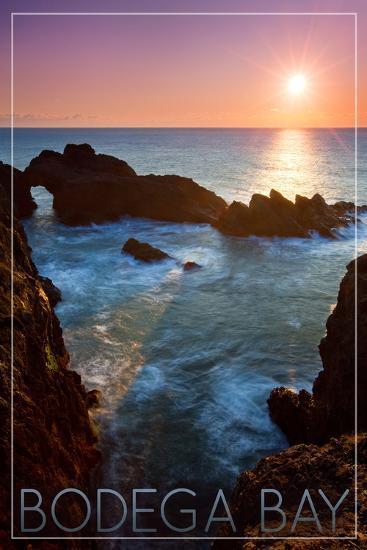 Bodega Bay, California - Rocky Cove and Sunset-Lantern Press-Art Print