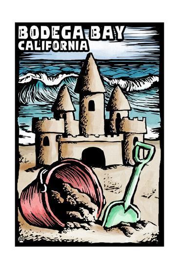 Bodega Bay, California - Sandcastle - Scratchboard-Lantern Press-Art Print