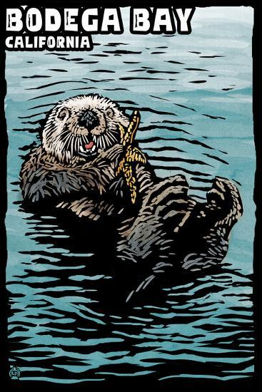 Bodega Bay, California - Sea Otter - Scratchboard-Lantern Press-Wall Mural