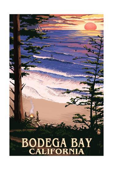 Bodega Bay, California - Sunset and Beach-Lantern Press-Art Print