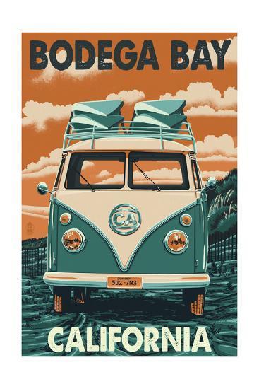 Bodega Bay, California - VW Van-Lantern Press-Art Print