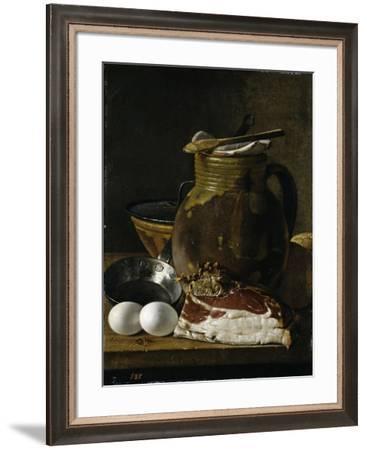 """""""Bodegón con jamón, huevos y recipientes, Late 18th century.-Luis Egidio Meléndez-Framed Giclee Print"""