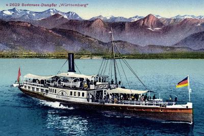 Bodensee, Dampfer Württemberg in Fahrt, Gebirge--Giclee Print