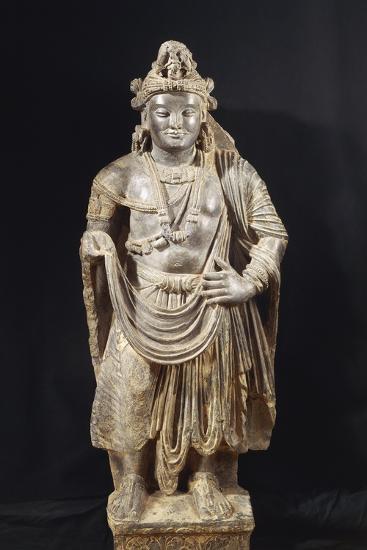 Bodhisattva, Grey Shale Greek-Style Buddhist Statue, from Peshawar Region, Pakistan--Giclee Print