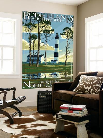 Bodie Island Lighthouse - Outer Banks, North Carolina-Lantern Press-Wall Mural