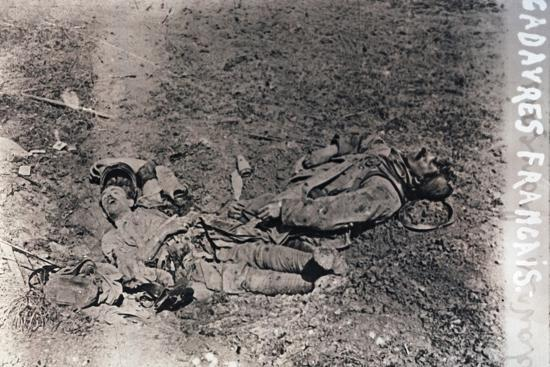 Bodies of dead French soldiers, c1914-c1918-Unknown-Photographic Print
