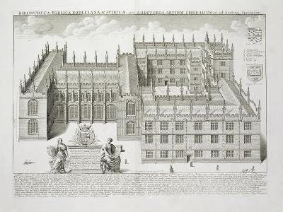 Bodleian Library, Oxford, from 'Oxonia Illustrata', Published 1675 (Engraving)-David Loggan-Giclee Print