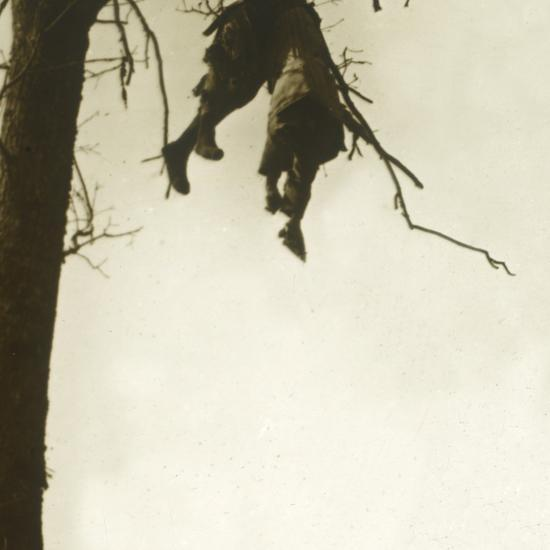 Body in tree, Bois d'Avocourt, Verdun, northern France, c1914-c1918-Unknown-Photographic Print